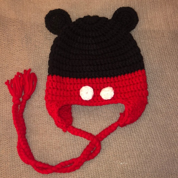 Boutique Mickey Mouse Hat, Handmade Crochet